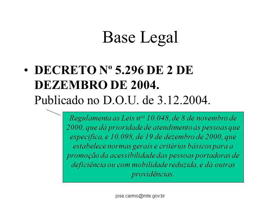 Base LegalDECRETO Nº 5.296 DE 2 DE DEZEMBRO DE 2004. Publicado no D.O.U. de 3.12.2004.