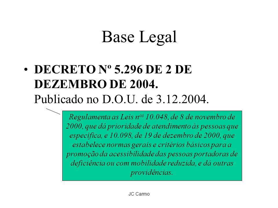Base Legal DECRETO Nº 5.296 DE 2 DE DEZEMBRO DE 2004. Publicado no D.O.U. de 3.12.2004.