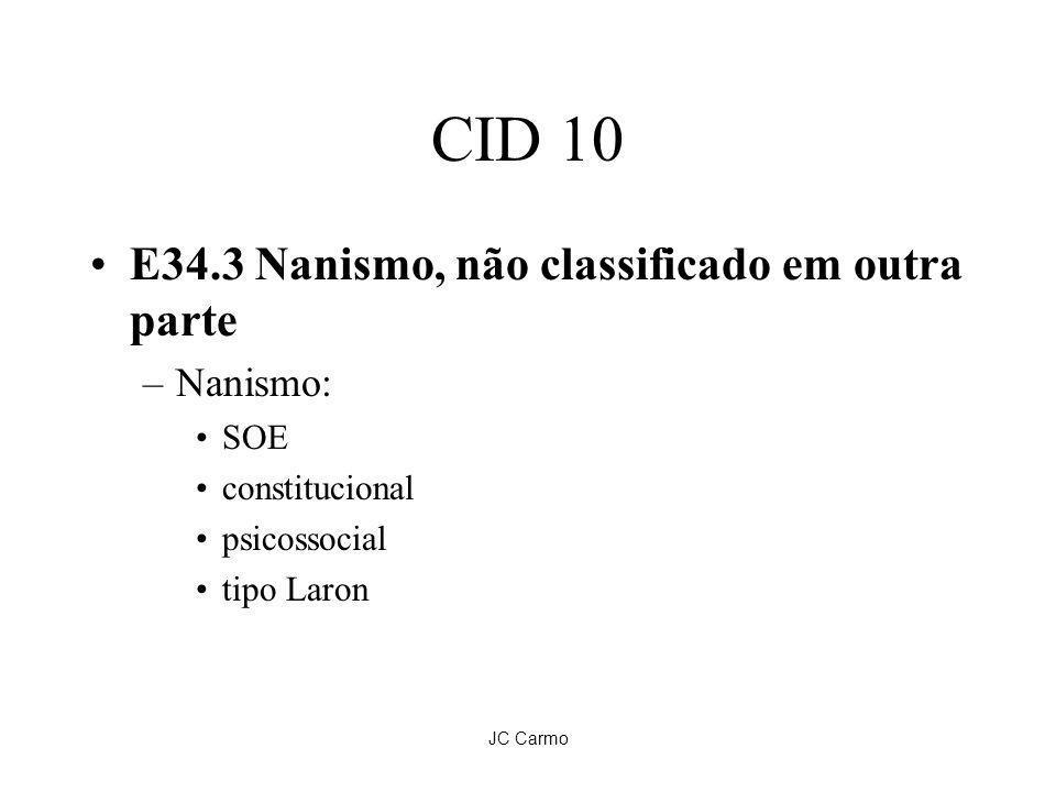 CID 10 E34.3 Nanismo, não classificado em outra parte Nanismo: SOE