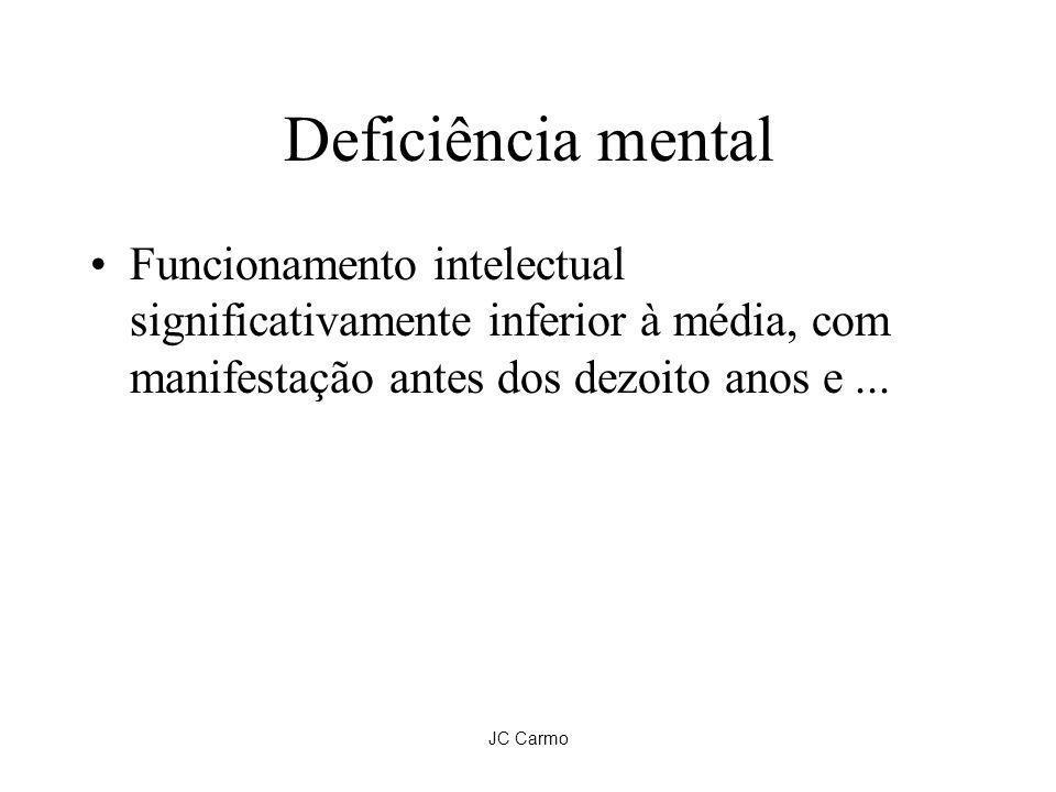 Deficiência mentalFuncionamento intelectual significativamente inferior à média, com manifestação antes dos dezoito anos e ...