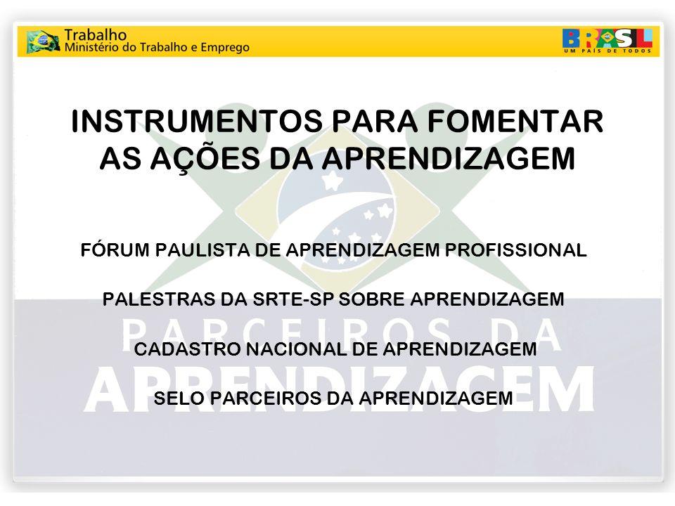 INSTRUMENTOS PARA FOMENTAR AS AÇÕES DA APRENDIZAGEM