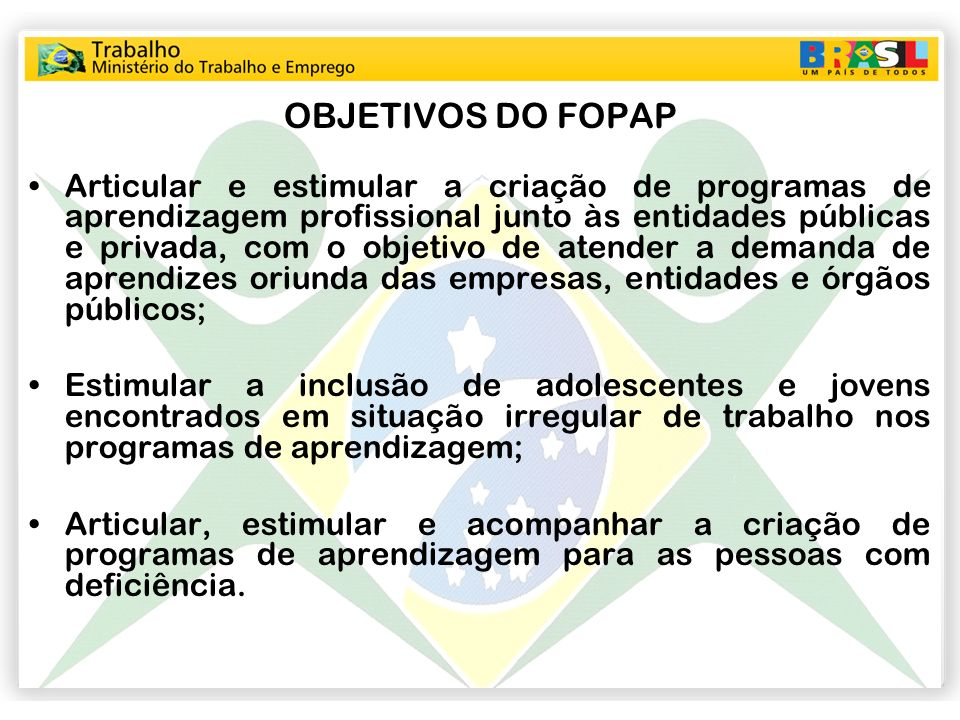 OBJETIVOS DO FOPAP