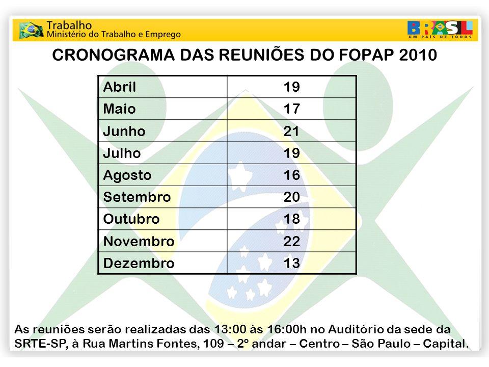 CRONOGRAMA DAS REUNIÕES DO FOPAP 2010