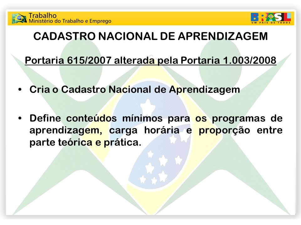 CADASTRO NACIONAL DE APRENDIZAGEM