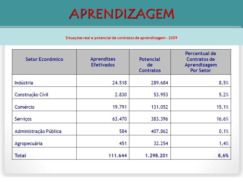 Situações real e potencial de contratos de aprendizagem - 2009