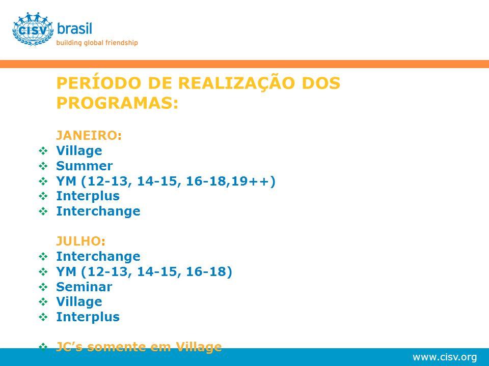 PERÍODO DE REALIZAÇÃO DOS PROGRAMAS: