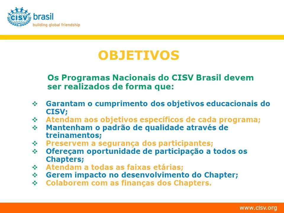OBJETIVOS Os Programas Nacionais do CISV Brasil devem