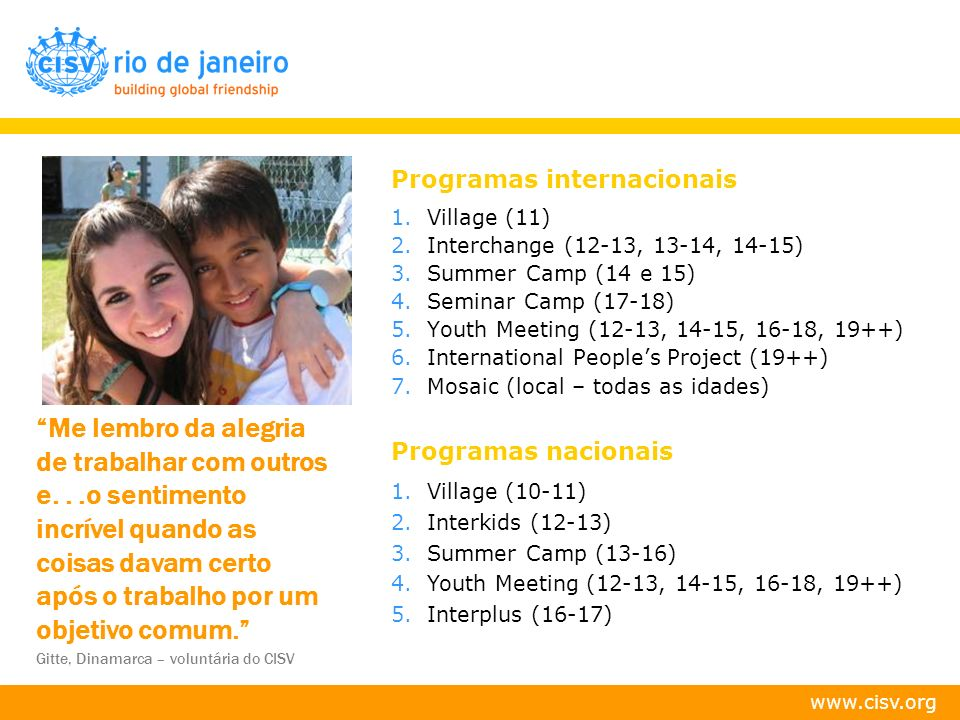 Programas internacionais