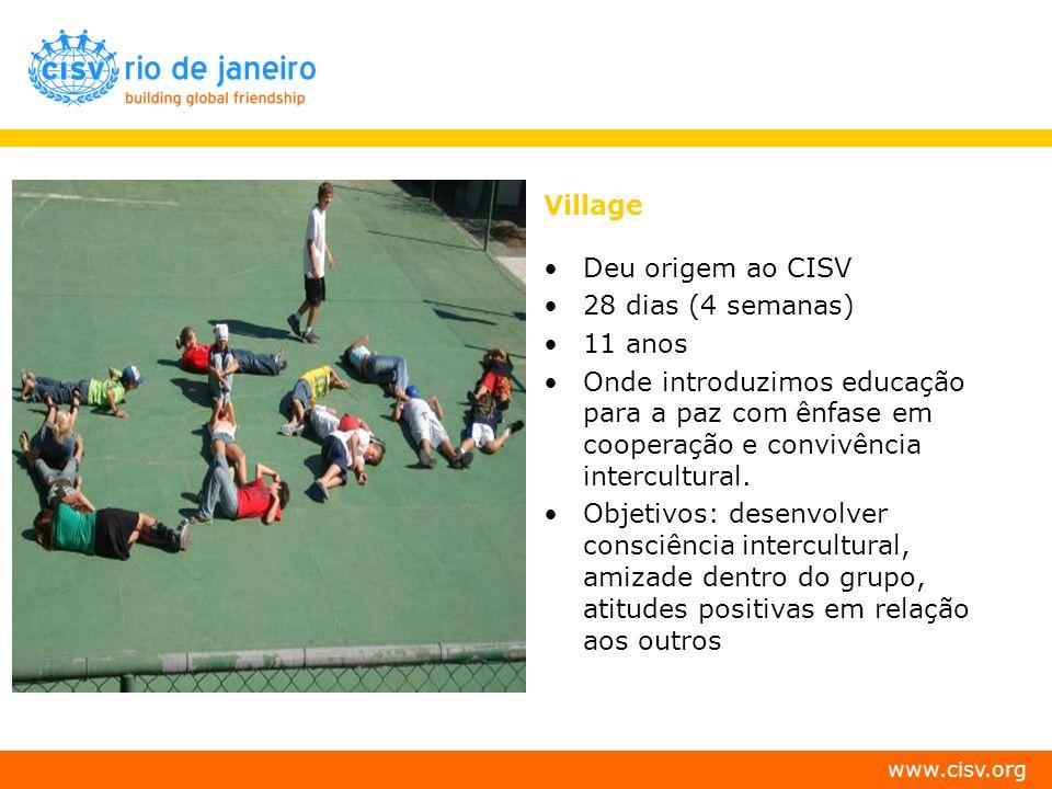 VillageDeu origem ao CISV. 28 dias (4 semanas) 11 anos. Onde introduzimos educação para a paz com ênfase em cooperação e convivência intercultural.
