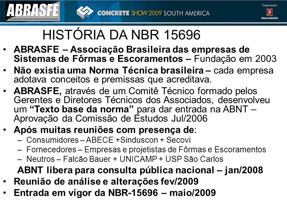 HISTÓRIA DA NBR 15696 ABRASFE – Associação Brasileira das empresas de Sistemas de Fôrmas e Escoramentos – Fundação em 2003.
