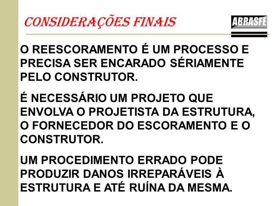 CONSIDERAÇÕES FINAIS O REESCORAMENTO É UM PROCESSO E