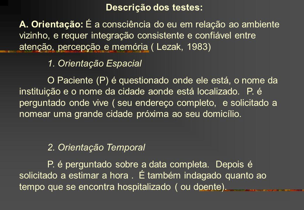 Descrição dos testes: