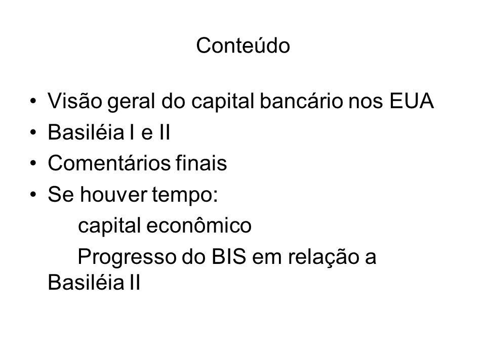 Conteúdo Visão geral do capital bancário nos EUA. Basiléia I e II. Comentários finais. Se houver tempo: