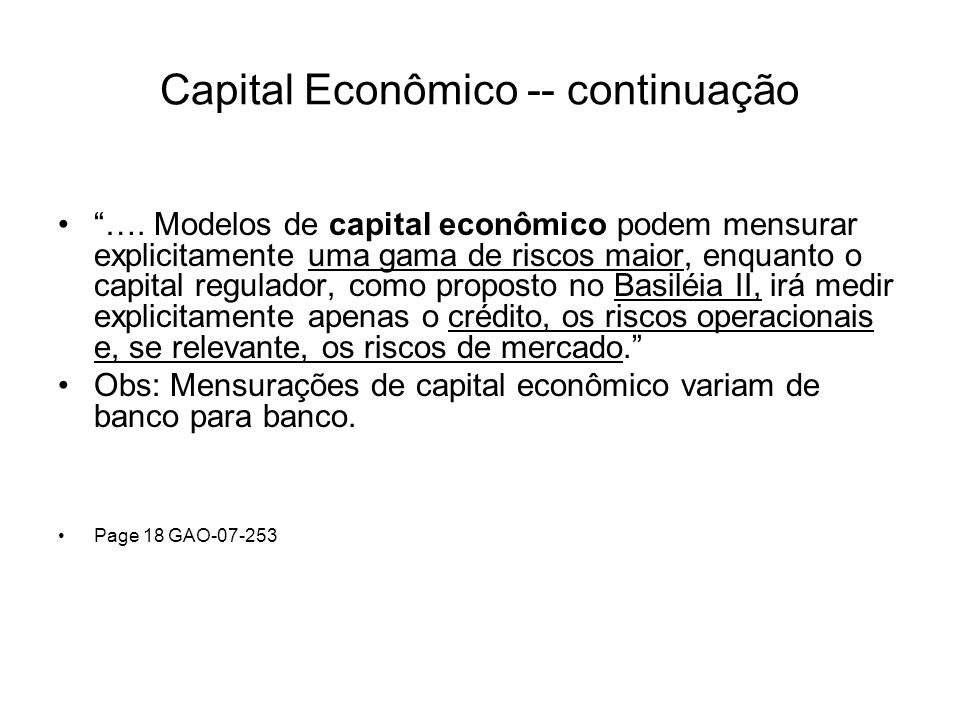 Capital Econômico -- continuação