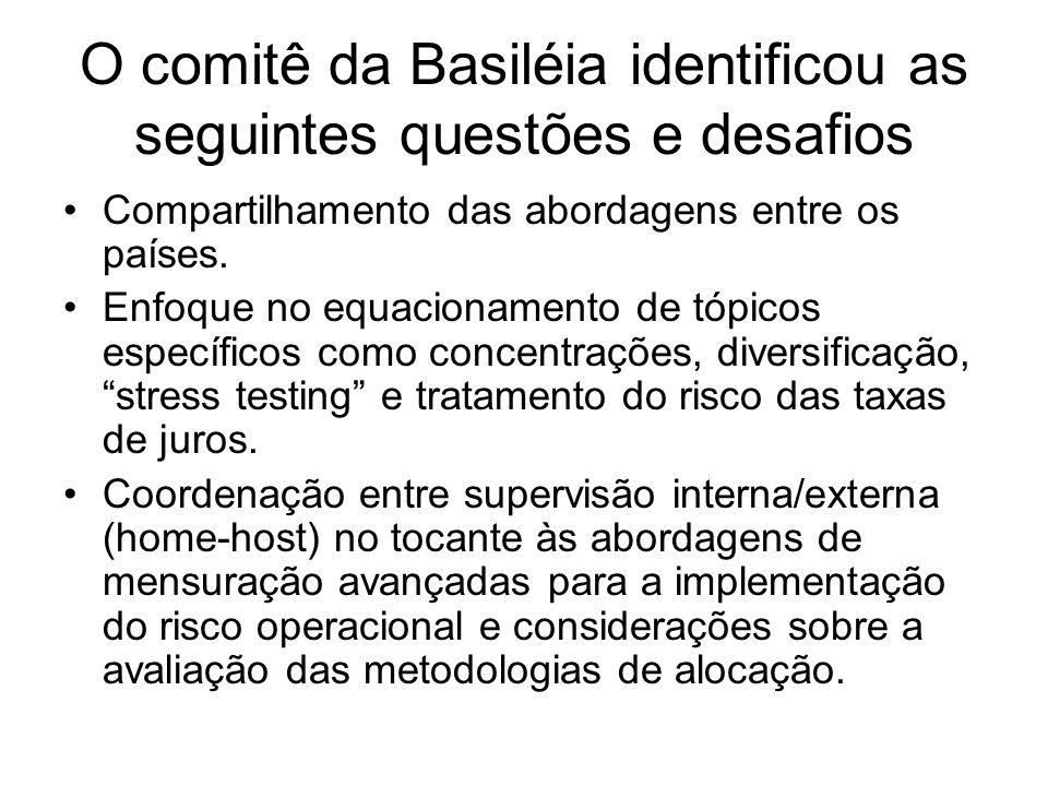 O comitê da Basiléia identificou as seguintes questões e desafios