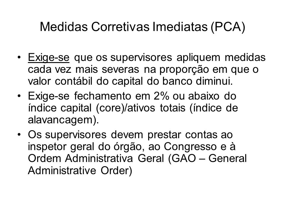 Medidas Corretivas Imediatas (PCA)