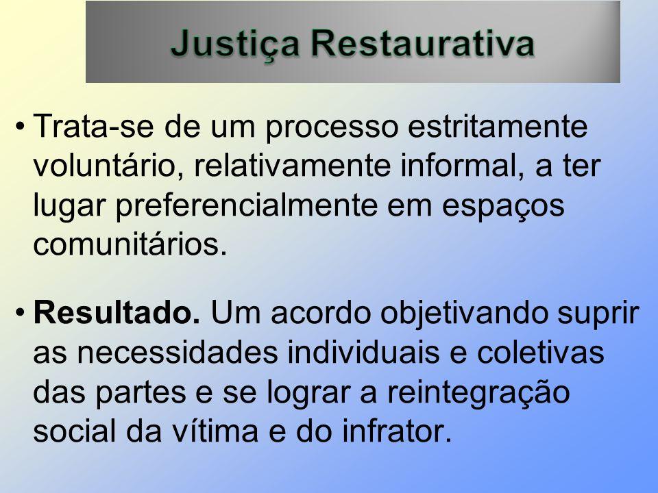 Justiça Restaurativa Trata-se de um processo estritamente voluntário, relativamente informal, a ter lugar preferencialmente em espaços comunitários.