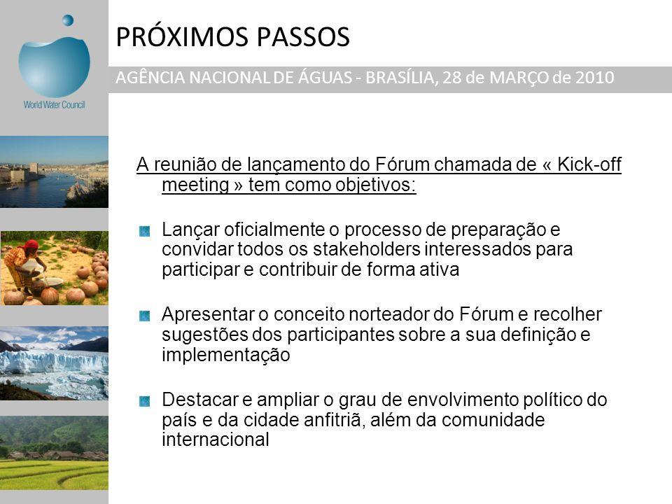 PRÓXIMOS PASSOS AGÊNCIA NACIONAL DE ÁGUAS - BRASÍLIA, 28 de MARÇO de 2010.