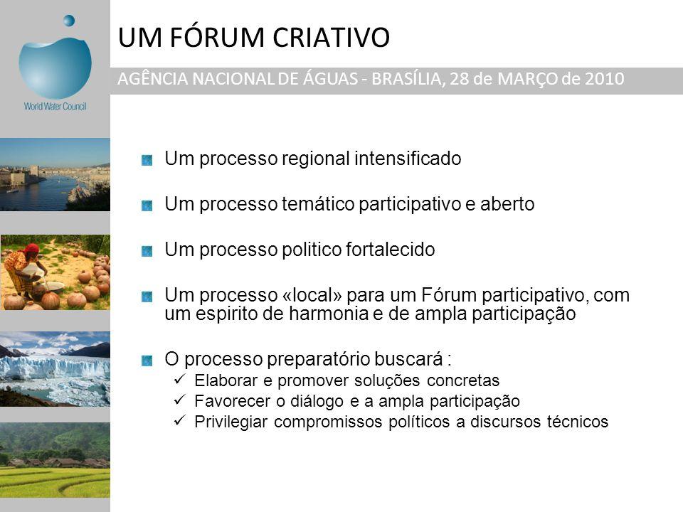 UM FÓRUM CRIATIVO AGÊNCIA NACIONAL DE ÁGUAS - BRASÍLIA, 28 de MARÇO de 2010. Um processo regional intensificado.