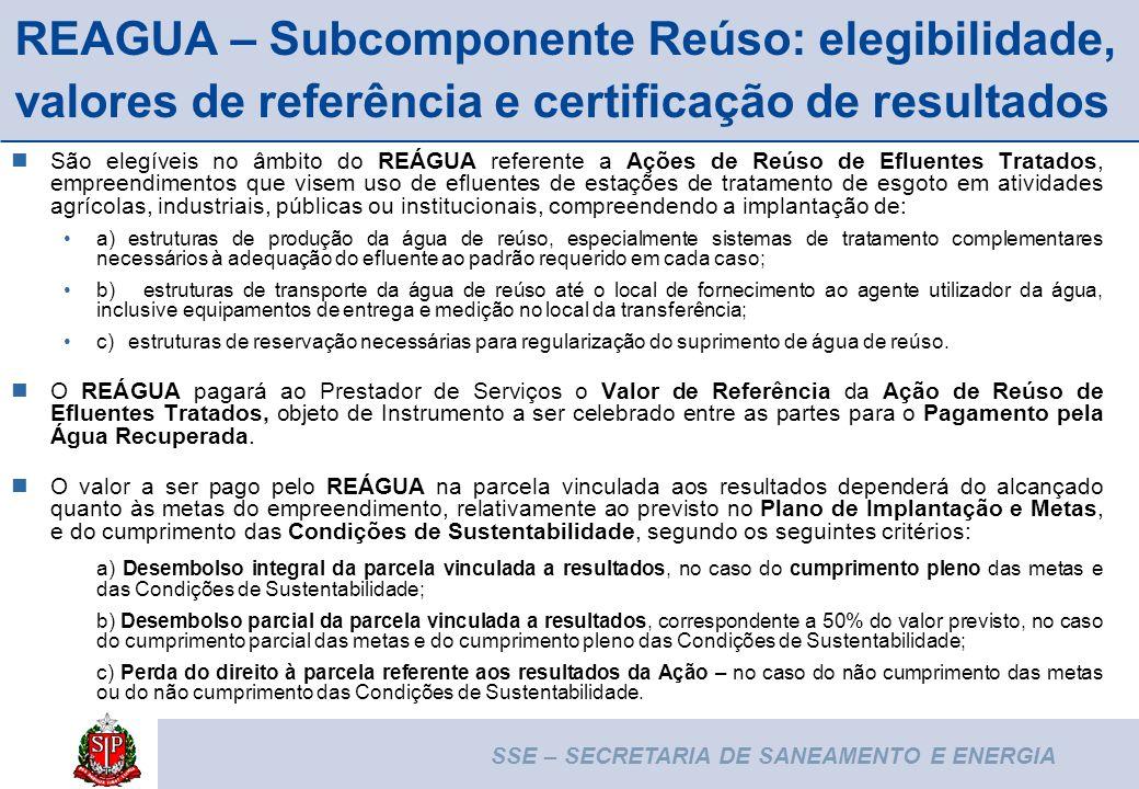 REAGUA – Subcomponente Reúso: elegibilidade, valores de referência e certificação de resultados