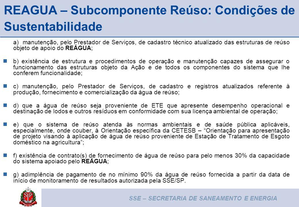 REAGUA – Subcomponente Reúso: Condições de Sustentabilidade