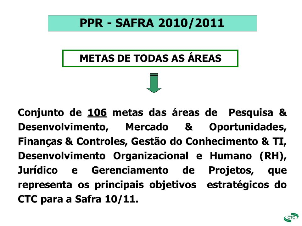 PPR - SAFRA 2010/2011 METAS DE TODAS AS ÁREAS