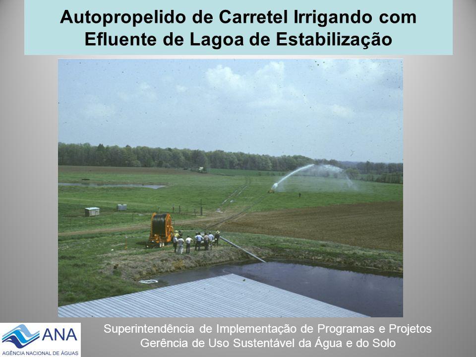 Autopropelido de Carretel Irrigando com Efluente de Lagoa de Estabilização