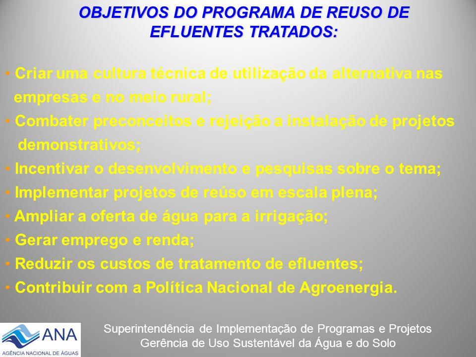 OBJETIVOS DO PROGRAMA DE REUSO DE EFLUENTES TRATADOS: