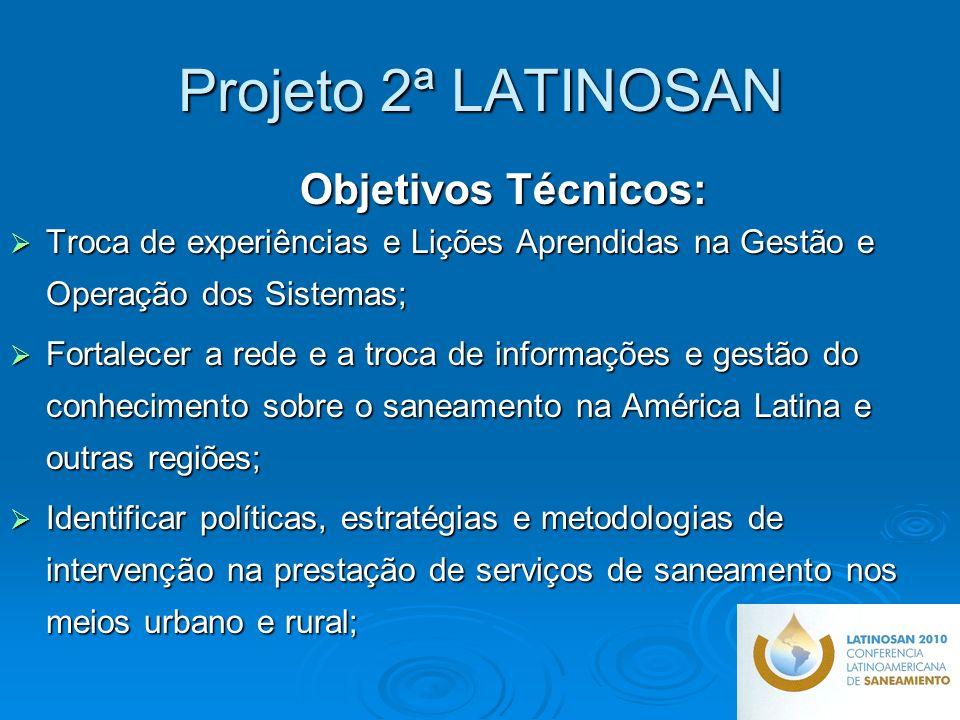 Projeto 2ª LATINOSAN Objetivos Técnicos: Troca de experiências e Lições Aprendidas na Gestão e Operação dos Sistemas;