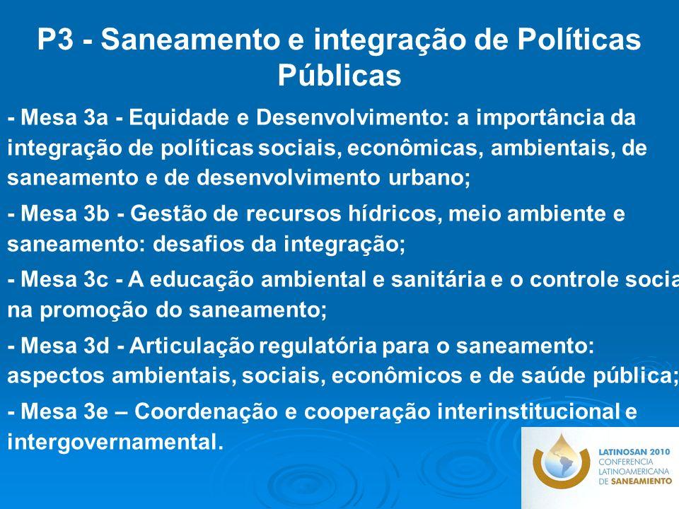 P3 - Saneamento e integração de Políticas Públicas
