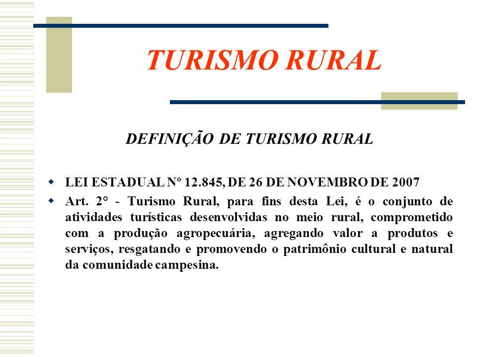 DEFINIÇÃO DE TURISMO RURAL