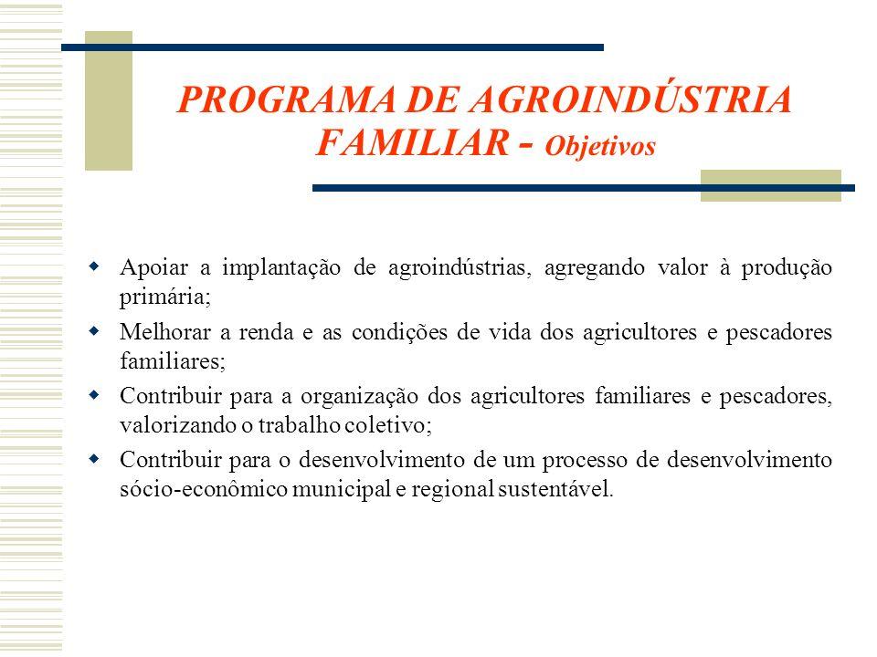 PROGRAMA DE AGROINDÚSTRIA FAMILIAR - Objetivos