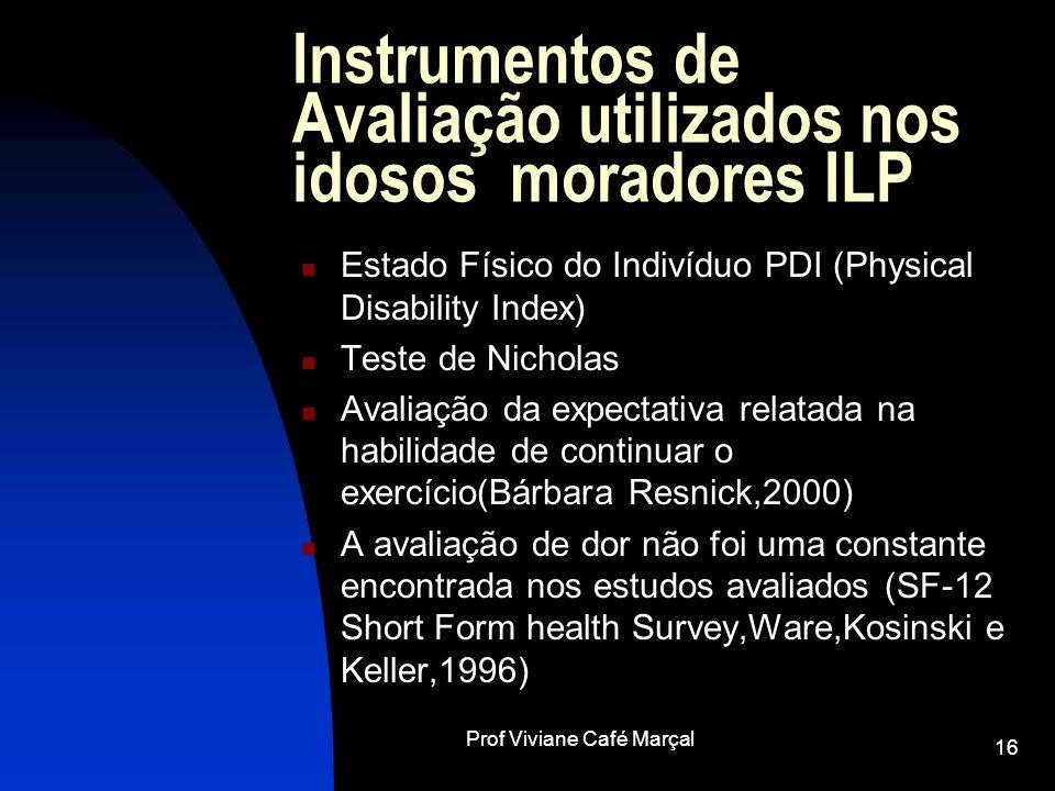 Instrumentos de Avaliação utilizados nos idosos moradores ILP