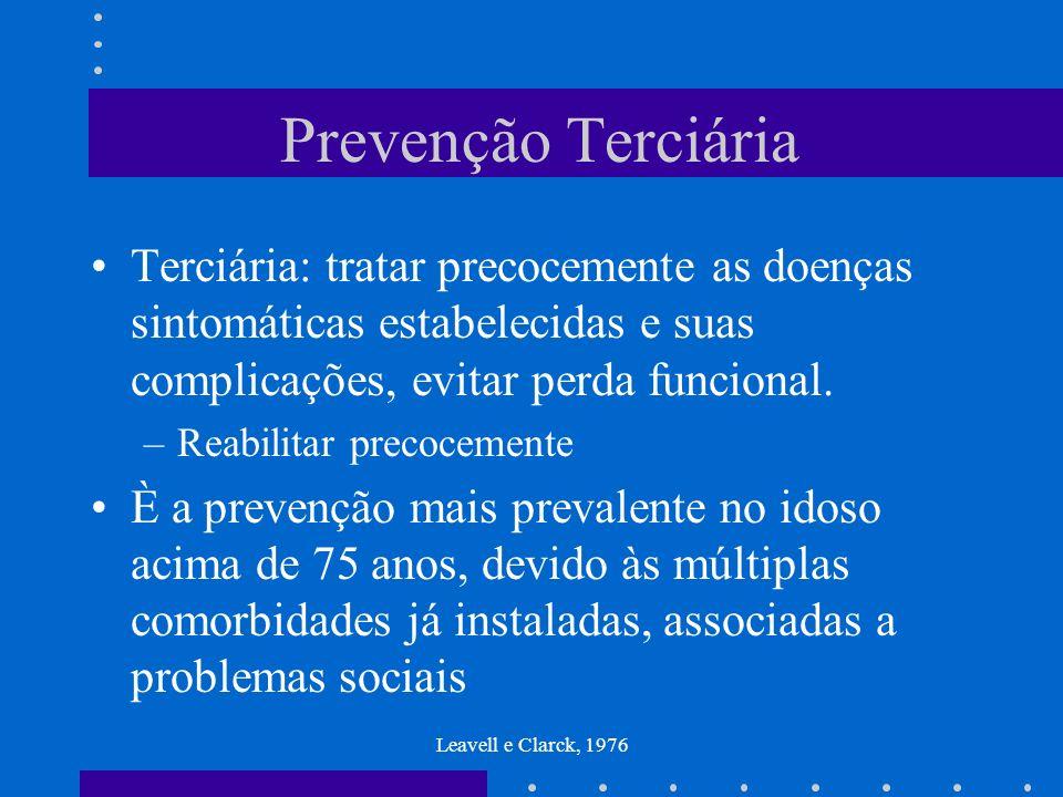 Prevenção Terciária Terciária: tratar precocemente as doenças sintomáticas estabelecidas e suas complicações, evitar perda funcional.
