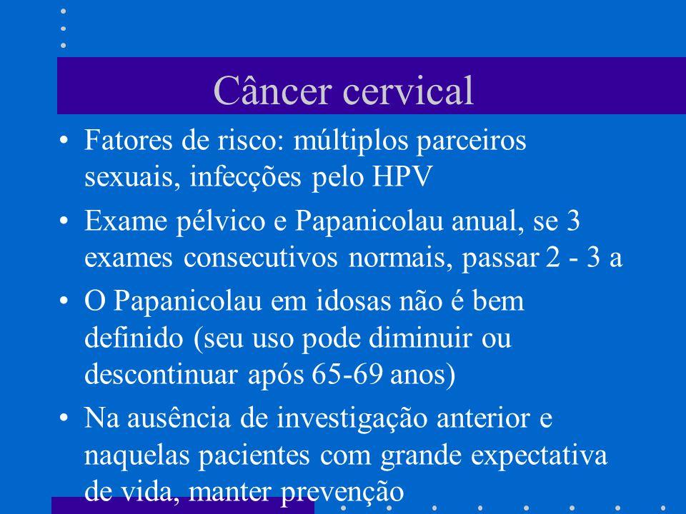 Câncer cervical Fatores de risco: múltiplos parceiros sexuais, infecções pelo HPV.