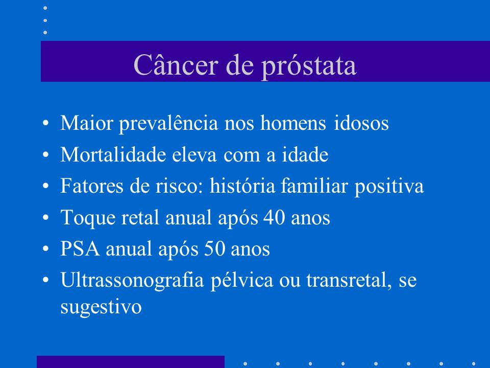 Câncer de próstata Maior prevalência nos homens idosos