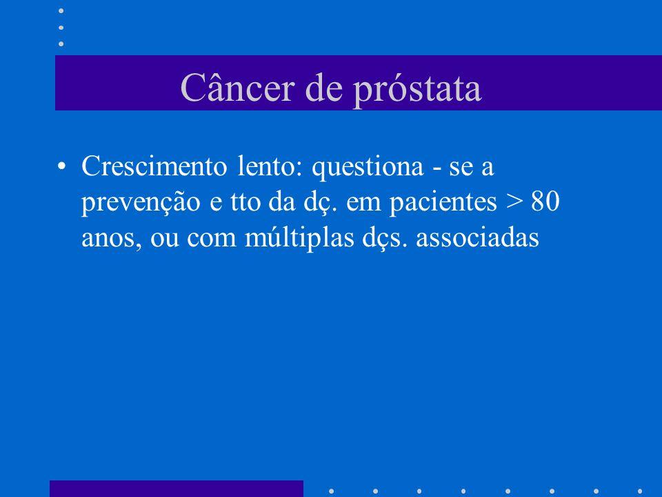 Câncer de próstata Crescimento lento: questiona - se a prevenção e tto da dç.