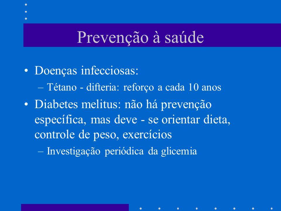Prevenção à saúde Doenças infecciosas: