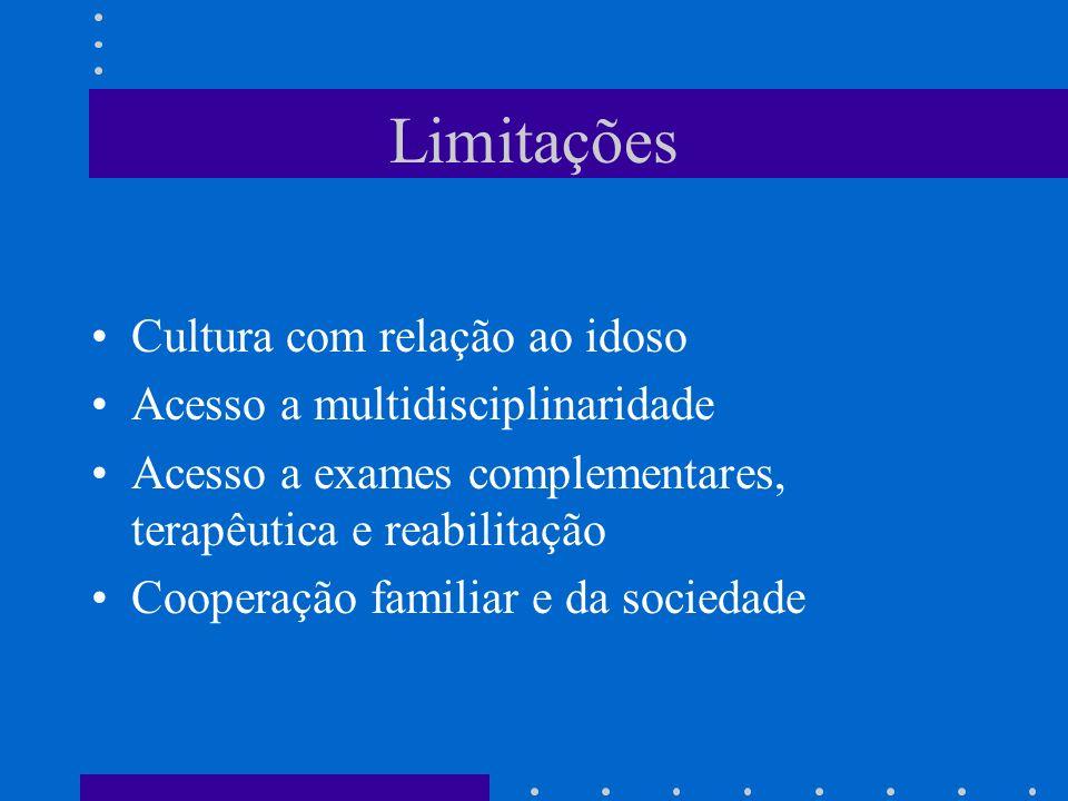 Limitações Cultura com relação ao idoso Acesso a multidisciplinaridade