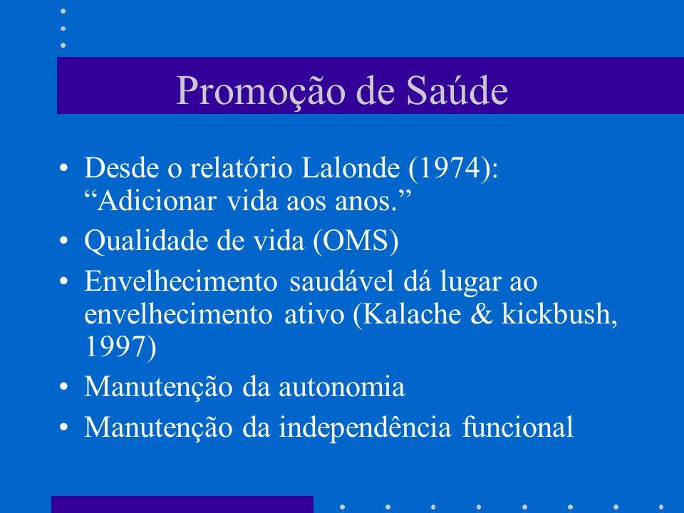 Promoção de Saúde Desde o relatório Lalonde (1974): Adicionar vida aos anos. Qualidade de vida (OMS)