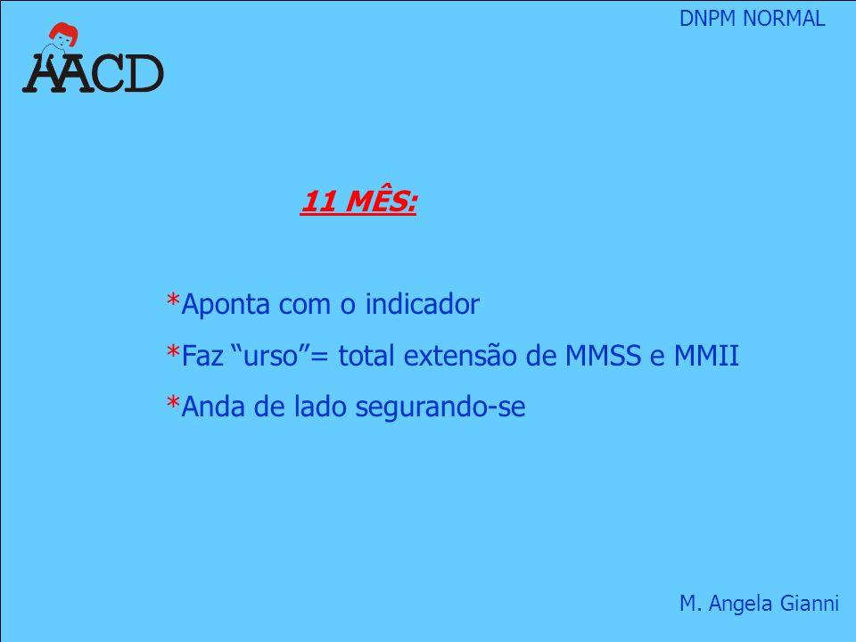 11 MÊS: Aponta com o indicador Faz urso = total extensão de MMSS e MMII Anda de lado segurando-se