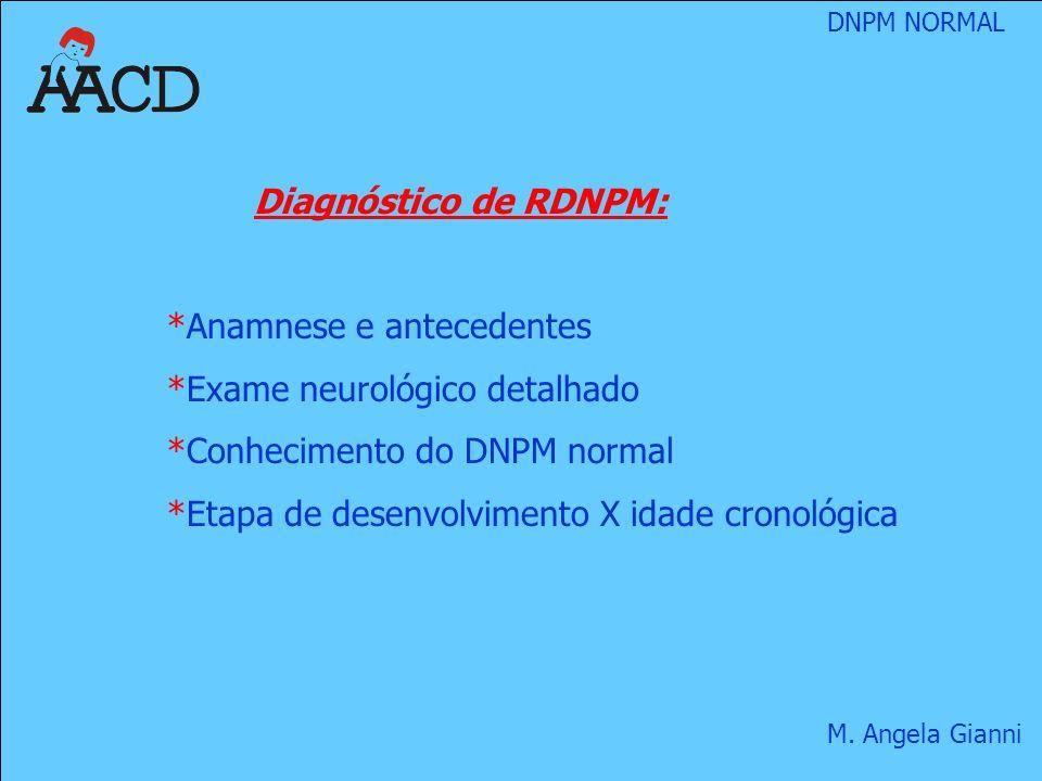 Diagnóstico de RDNPM: Anamnese e antecedentes. Exame neurológico detalhado. Conhecimento do DNPM normal.