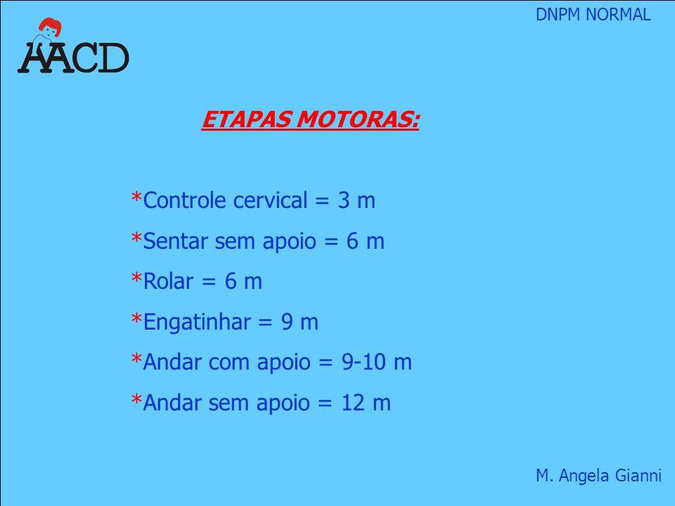ETAPAS MOTORAS: Controle cervical = 3 m. Sentar sem apoio = 6 m. Rolar = 6 m. Engatinhar = 9 m. Andar com apoio = 9-10 m.