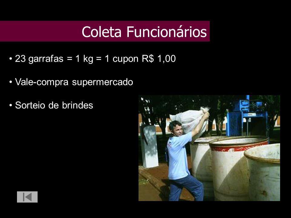 Coleta Funcionários 23 garrafas = 1 kg = 1 cupon R$ 1,00