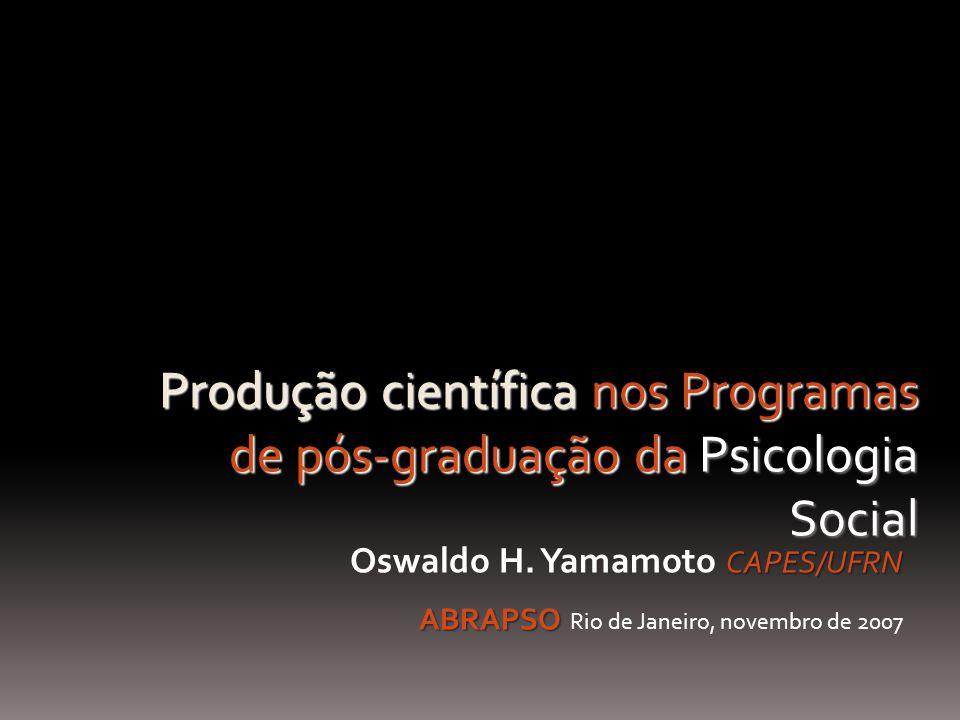 Produção científica nos Programas de pós-graduação da Psicologia Social