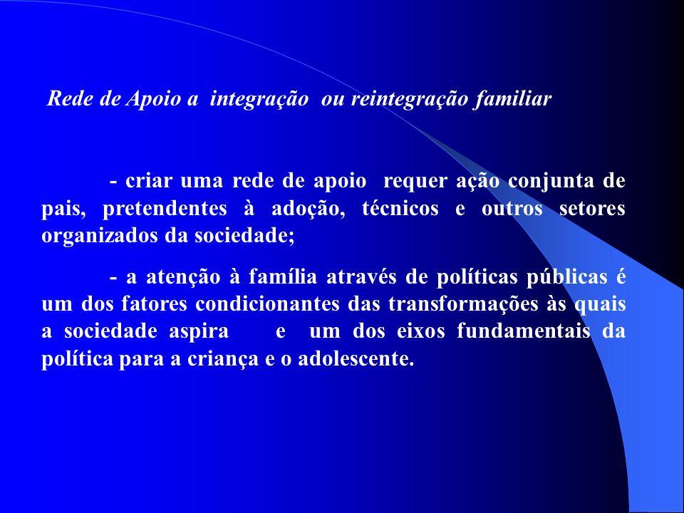 Rede de Apoio a integração ou reintegração familiar