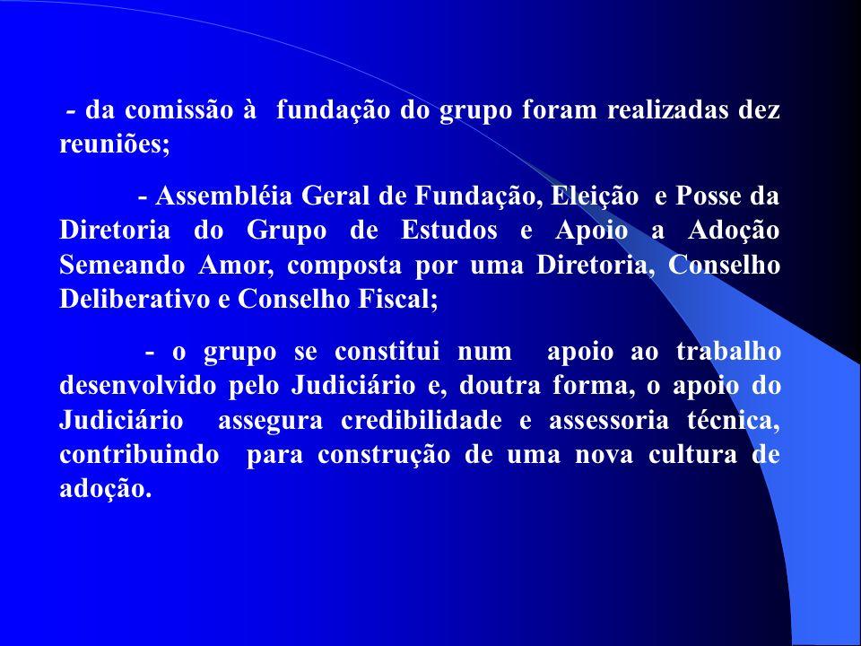 - da comissão à fundação do grupo foram realizadas dez reuniões;