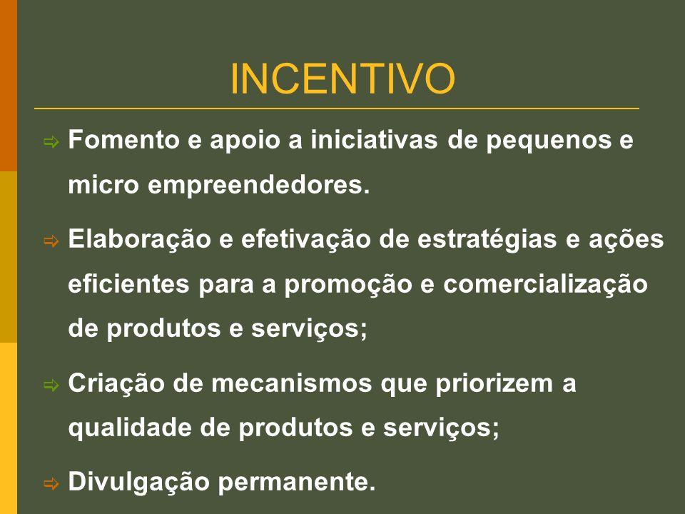 INCENTIVO Fomento e apoio a iniciativas de pequenos e micro empreendedores.