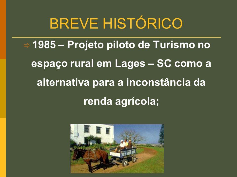 BREVE HISTÓRICO 1985 – Projeto piloto de Turismo no espaço rural em Lages – SC como a alternativa para a inconstância da renda agrícola;