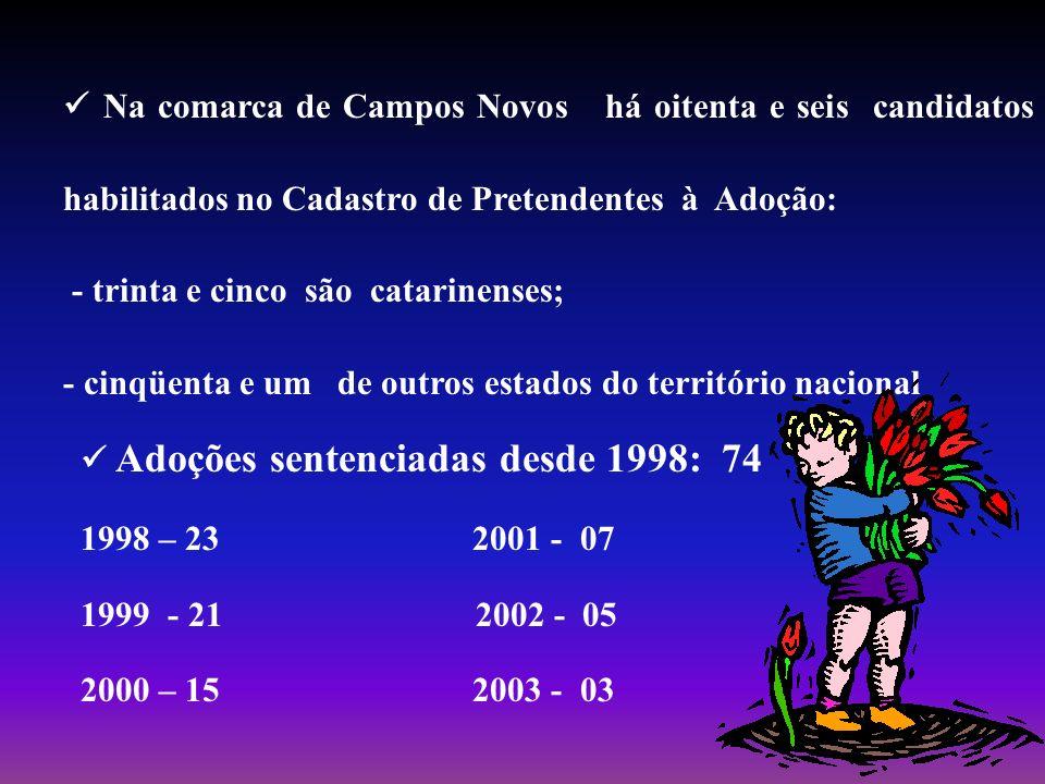  Na comarca de Campos Novos há oitenta e seis candidatos habilitados no Cadastro de Pretendentes à Adoção: